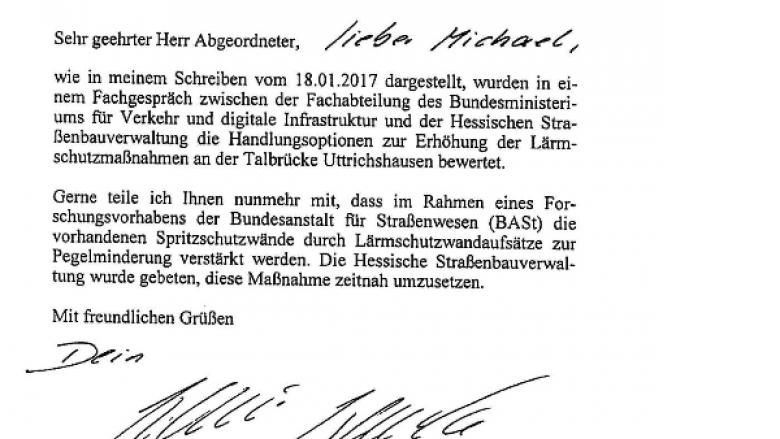 Uttrichshausen wird Modellprojekt des Bundes - 420.000 EURO für neuen Lärmschutz